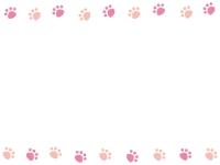 ピンク色の肉球の上下肉球フレーム飾り枠イラスト