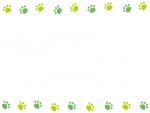グリーンの上下肉球フレーム飾り枠イラスト