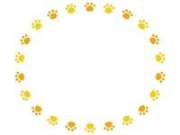 オレンジと黄色の円形肉球フレーム飾り枠イラスト
