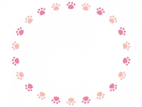 ピンク色の円形肉球フレーム飾り枠イラスト