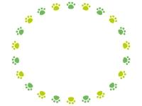 グリーンの円形肉球フレーム飾り枠イラスト