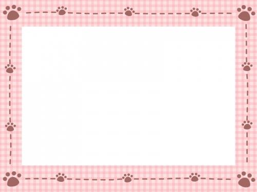 肉球と点線のチェック柄フレーム飾り枠イラスト