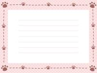 肉球と点線のドット柄メモ帳フレーム飾り枠イラスト