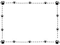 肉球とステッチの白黒フレーム飾り枠イラスト