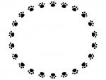 肉球の白黒円形フレーム飾り枠イラスト