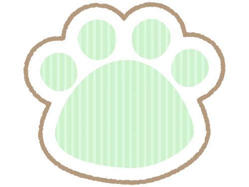 肉球の緑色ストライプのフレーム飾り枠イラスト