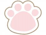 肉球のピンク色ストライプのフレーム飾り枠イラスト