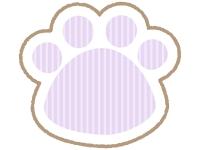 肉球の紫色ストライプのフレーム飾り枠イラスト