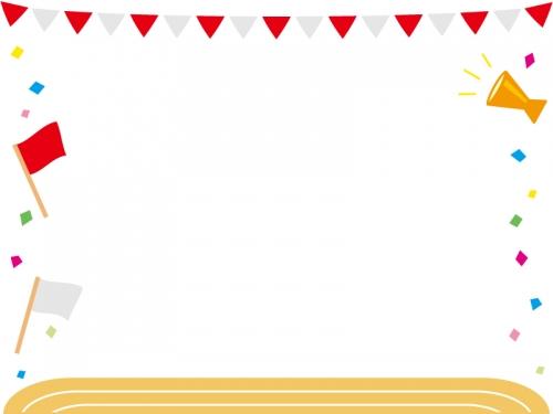 運動会・紅白の旗と校庭のフレーム飾り枠イラスト
