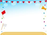 運動会・青空と紅白の旗と校庭のフレーム飾り枠イラスト
