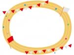 運動会・紅白の旗と陸上トラックのフレーム飾り枠イラスト