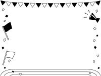 運動会・旗と校庭の白黒フレーム飾り枠イラスト