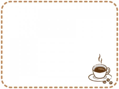 コーヒーの茶色の点線フレーム飾り枠イラスト