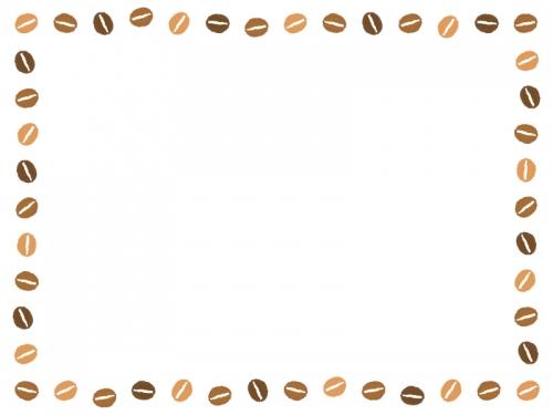 コーヒー豆の囲みフレーム飾り枠イラスト