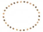 コーヒー豆の楕円囲みフレーム飾り枠イラスト
