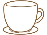 コーヒーカップ型の茶色フレーム飾り枠イラスト