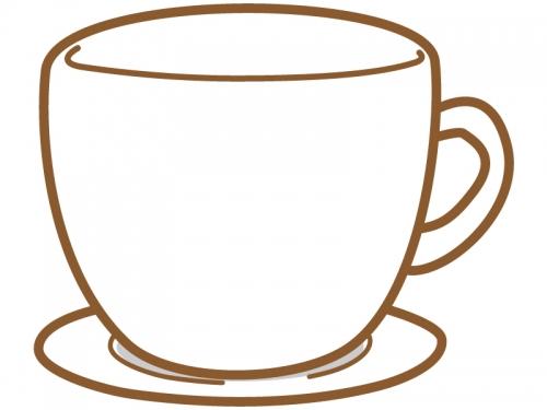 コーヒーカップ型の茶色フレーム飾り枠イラスト 無料イラスト かわいい