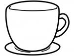 コーヒーカップ型の白黒フレーム飾り枠イラスト