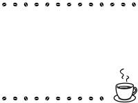 コーヒーとコーヒー豆の白黒フレーム飾り枠イラスト