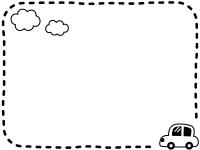 車と雲の白黒点線フレーム飾り枠イラスト