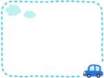 青い車と雲の水色点線フレーム飾り枠イラスト