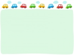 カラフルな車と雲の黄緑色フレーム飾り枠イラスト