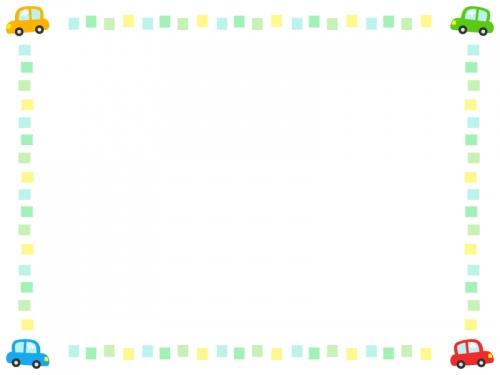 車とカラフルな四角のフレーム飾り枠イラスト