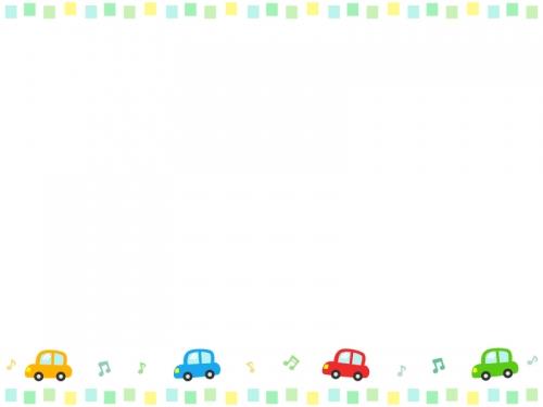 車と音符とカラフルな四角の上下フレーム飾り枠イラスト