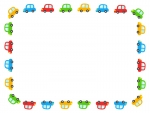 カラフルな車の囲みフレーム飾り枠イラスト