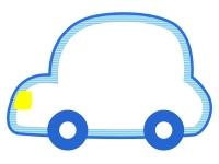 青い車の形のフレーム飾り枠イラスト