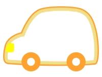 オレンジ色の車の形のフレーム飾り枠イラスト