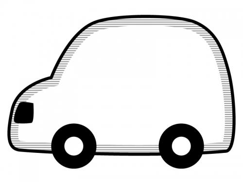 車の形の白黒フレーム飾り枠イラスト