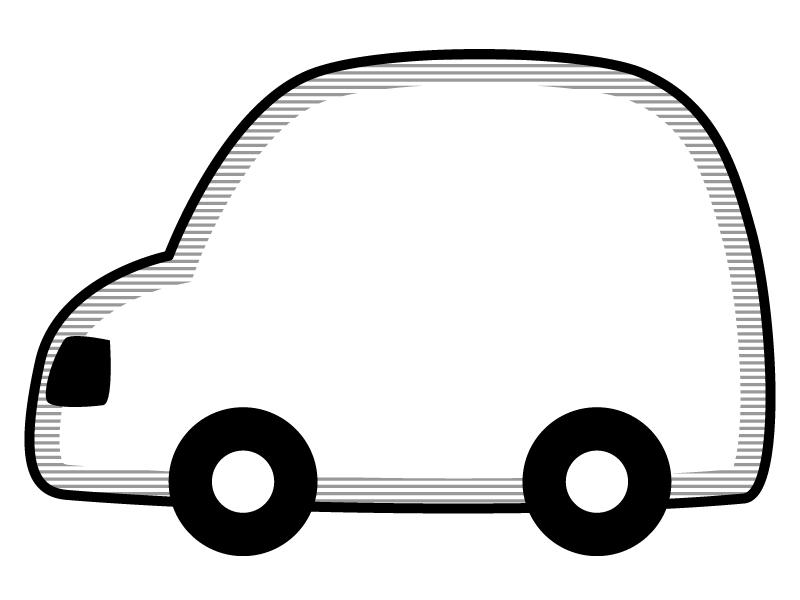 車の形の白黒フレーム飾り枠イラスト 無料イラスト かわいいフリー素材集 フレームぽけっと