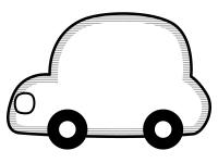 丸い車の形の白黒フレーム飾り枠イラスト