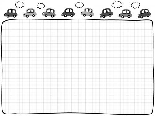 車と雲の白黒格子柄フレーム飾り枠イラスト
