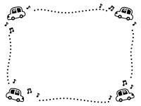 四隅の車と音符の白黒点線フレーム飾り枠イラスト