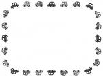 車の白黒囲みフレーム飾り枠イラスト
