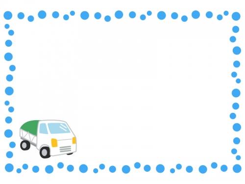 軽トラックの水玉フレーム飾り枠イラスト