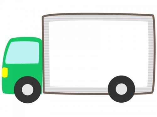 緑色のトラックの形のフレーム飾り枠イラスト