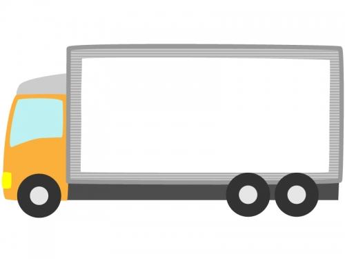 オレンジ色トラックの形のフレーム飾り枠イラスト