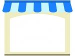 お店・ショップ(青色)のフレーム飾り枠イラスト