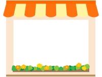 お店・ショップ(橙色)のフレーム飾り枠イラスト