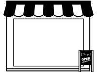 お店・ショップ(白黒)のフレーム飾り枠イラスト