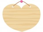 木の看板(ハート型)のフレーム飾り枠イラスト