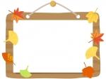 木の看板と落ち葉のフレーム飾り枠イラスト