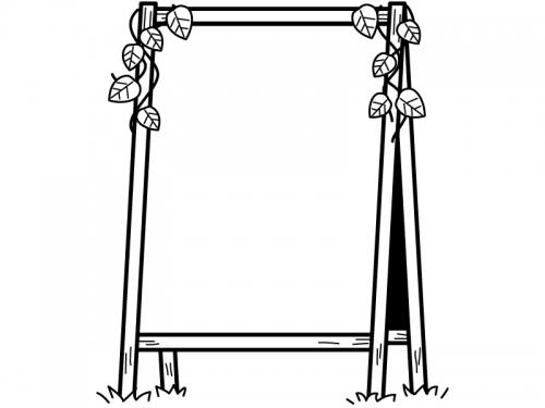 木の立て看板と葉っぱの白黒フレーム飾り枠イラスト