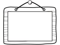 木の看板の白黒フレーム飾り枠イラスト