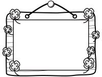 木の看板とクローバーの白黒フレーム飾り枠イラスト