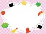 お弁当のピンク色チェックのフレーム飾り枠イラスト