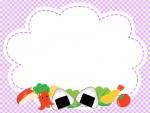 お弁当の紫色チェックのフレーム飾り枠イラスト